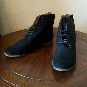 Black Lace Up Flat Boots